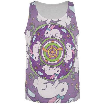 CREYCY8 Mandala Trippy Stained Glass Easter Bunny All Over Mens Tank Top