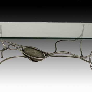 low coffee table base with one stone