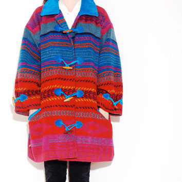 SOUTHWEST WOOL COAT // toggle coat, turquoise suede leather coat, wool blanket jacket, navajo native american, southwestern womens coat