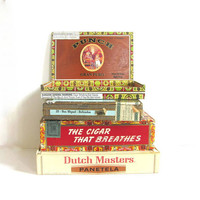 Vintage - Wooden Cigar Boxes / set of 4