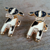 Vintage Two Piece Enamel Cow Earrings - Articulated Earrings - Enamel Kitsch Earrings - Black and Cream Figural Earrings - Animal Earrings