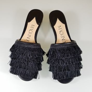 Mac J Black Fringe Slip On Flats Mules
