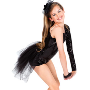 Child Sequin Asymmetrical Shorty Unitard with Bustle - Style Number: LS104C