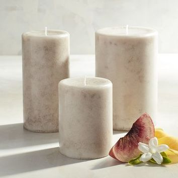 Vintage Linens Mottled Pillar Candles