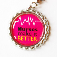 Nurse charm, Nurse Zipper charm, zipper pull, purse charm, bottle cap, Gift for Nurse, Nurses make it better, pink, nurse