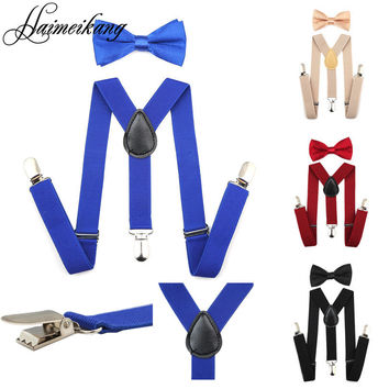 Suspenders and Bow Tie Set Braces Elastic Y-back for Baby Kids Red Pink Black Blue Boys Girls Suspenders and Bow Tie