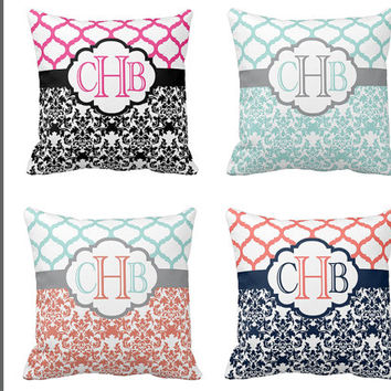 Monogram PILLOW, Damask THROW Pillow with Insert, Pillow SHAM Pillow Case, Quatrefoil Pillow, Collage Dorm, Baby Nursery Pillow,Couch Pillow