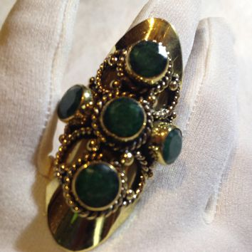Vintage genuine Emerald Brass knuckle adjustable ring