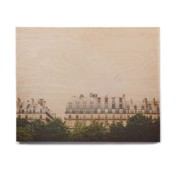 "Laura Evans ""Parisian Apartments"" Pastel Multicolor Photography Birchwood Wall Art"