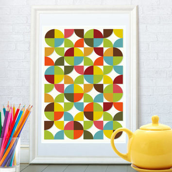 Abstract geometric pattern print, Mid century modern art, Kitchen art print, Nursery poster, Wall art