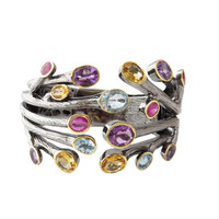GORGEOUS 33 Carat Natural Ruby, Citrine, Amethysts, Blue Topaz Branch Bangle, Sterling Silver, 14k Yellow and Black Gold, Conflict Free