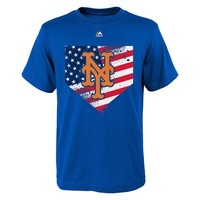 Majestic New York Mets Patriotic Home Plate Tee - Boys 8-20, Size: