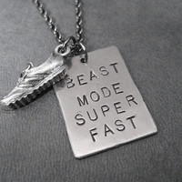 BEAST Mode SUPER FAST with Running Shoe Necklace on 18 inch gunmetal chain - Running Jewelry - Cross Country Running - Cross Country Team