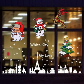 Silicone Glass Stickers Large Window Glass Door Wall Stickers Christmas Ornaments Party Christmas Decorations for Home