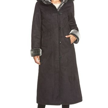 Women's Gallery Long Hooded Faux Shearling Coat,