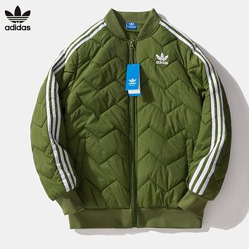 Adidas Autumn And Winter Fashion New Embroidery Letter Leaf Women Men Cotton Clothing Long Sleeve Coat Army Green