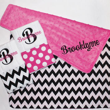 PERSONALIZED Baby Girl Chevron Black. White. Pink. Stroller Blanket Plus 2 Personalized Burp Cloths