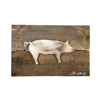 Pig Wood & Metal Art Wall Decor