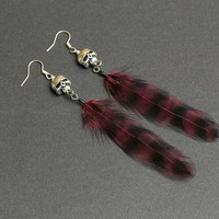 Skull Earrings: Claret feather Silver skull Jewelry Goth earrings Punk jewelry Gothic earrings Rocker earrings Occult jewelry Halloween Gift