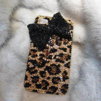 Handmade Bling sparkle diamond crystal pearl Rhinestone iPhone 6 6 plus iPhone 5 5s 5c 4 4s case samsung galaxy s5 note2 note3 case  leopard