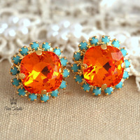 Turquoise Orange Tangerine rhinestone stud earrings, fashion jewelry, bridesmaids jewelry gift - 18k thick plated Swarovski post earrings.