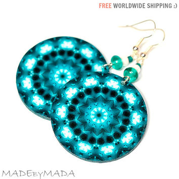 Teal & White Mandala Round decoupage earrings Rosette, gift for her under 25 (A15)
