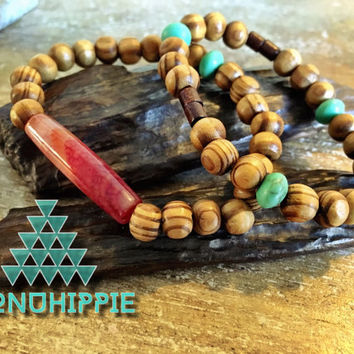 Boho hippie jewelry, cuff bracelet set, wood beads and semi precious stones