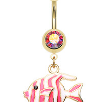 Golden Colored Tropical Stripe Fish Belly Button Ring
