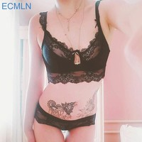 Sexy lingerie lace padded bra 5 breasted push up women bra sets Underwear bralette Q36
