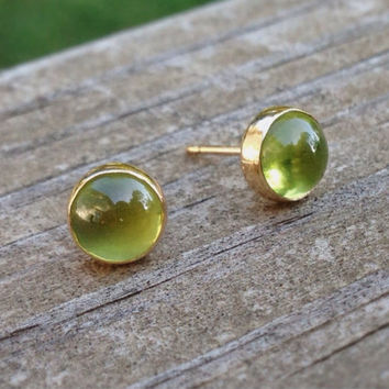 14k Gold Earrings with Peridot Cabochon, Peridot Stud Earrings, August Birthstone, Free Shipping