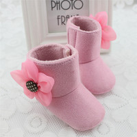 Newborn Baby Girls Big Flower Snow Boots Soft Crib Shoes Toddler Kids Warm Shoes 0-12M NW