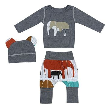 Cartoon Animal Baby Clothes Set Boys Girls Elephant Print Long Sleeved Top Tees + Pants + Hat Outfits Infant Clothing