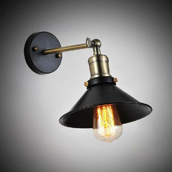 Vintage American Country Personality Loft Antique Industrial Black Wall Sconce Lamp Bathroom Beside Modern Lighting Fixture 20CM