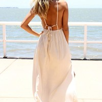 Cream Split Maxi Dress with V-Neckline & Low Back