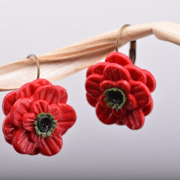 Unusual festive polymer clay flower earrings in the shape of red poppies