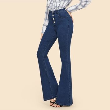 Button Up Flare Hem Jeans Woman Long Denim Trousers Vintage Pants Capris Mid Waist Stretch Women Jeans