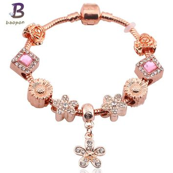 BAOPON Classic Rose Gold Color Flower Pendant & High Quality Murano Beads