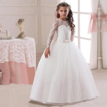 Elegant Flower Girl Dress Teenage White Formal Prom Gown for Wedding Kids Girls Long Dresses Children Clothing New Tutu Princess