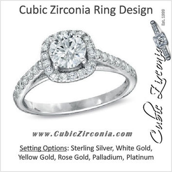 Cubic Zirconia Engagement Ring- The ________ Naming Rights 1632 (1.75 TCW Cushion Halo with Round Center and Pave Accents)