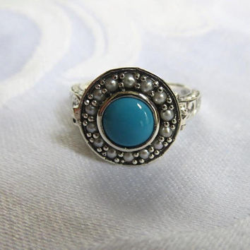 Vintage Poison Ring, Sterling Silver Filigree. Faux Turquoise, Seed Pearls, Size 7
