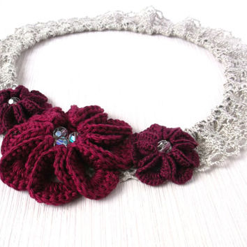 Elastic lace-crochet baby girl headband-burgundy red-melange grey-three flowers hair pieces