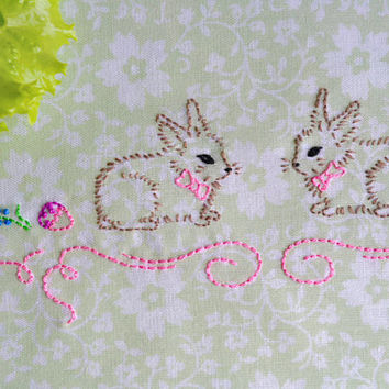 Easter Bunnies hand embroidery pattern modern embroidery NaiveNeedle