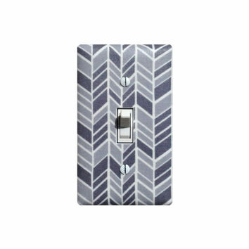Herringbone Light Switch Plate Cover / Gray and White Nursery Decor / Chevron / Organic Fabric