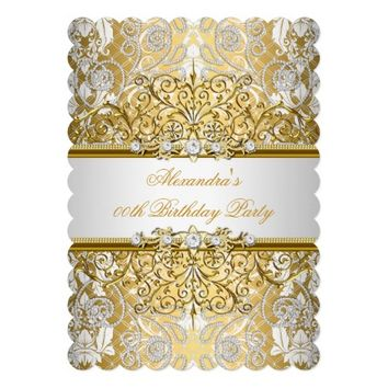 Elegant Gold White Damask Diamond Party 5x7 Paper Invitation Card