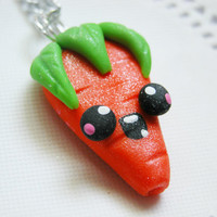 Kawaii Carrot Necklace Fimo Food Jewelry Polymer Clay Jewelry for Tweens Teens and Adults