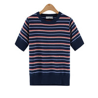 Striped Short Sleeve Knit Shirt