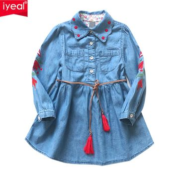 lYEAL Girls Denim Dress 2018 Spring Children Clothing Casual Style Kid Girl Clothes Flower Embroidery Dresses With Belt for 3-8T
