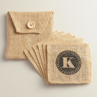 """K"" Monogram Jute Coasters, Set of 6 - World Market"