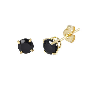 Round Black Onyx Stud Earrings 14k Yellow Gold Basket Set