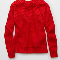 Aerie Cable Pullover Sweater, Red